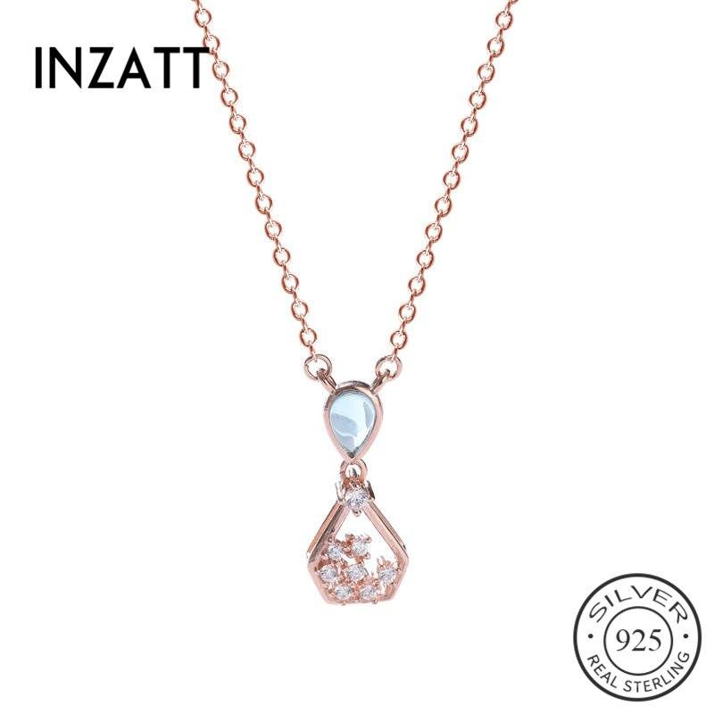 Inzatt real 925 prata esterlina zircão hourglass gargantilha colar para moda feminina festa de casamento jóias finas acessórios bonitos