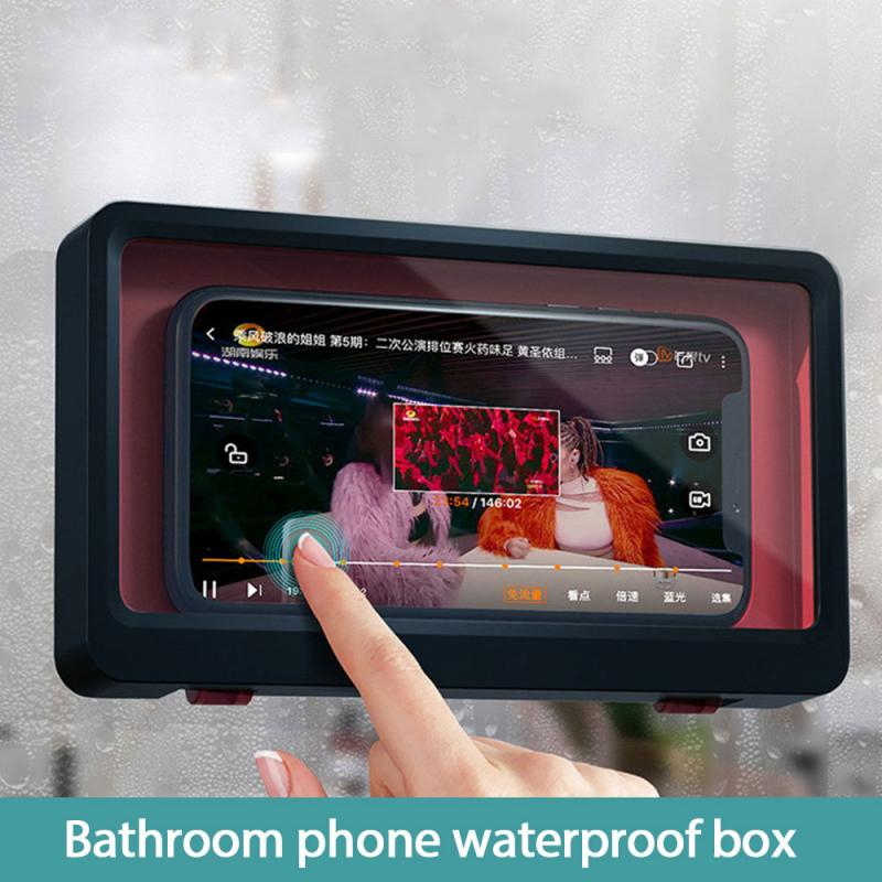 Universal Waterproof Phone Case Water Proof Bag Mobile Phone Pouch Wall Mounted Phone Case Holder Bathroom Toilet Phone Storage 2