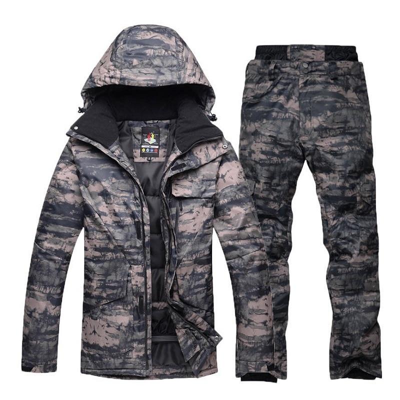 Ski Suit Male Windproof Waterproof Thicken Snow Clothes For Men Snowboard Jacket Pants Suit Winter Skiing Coat Trousers Plus Siz