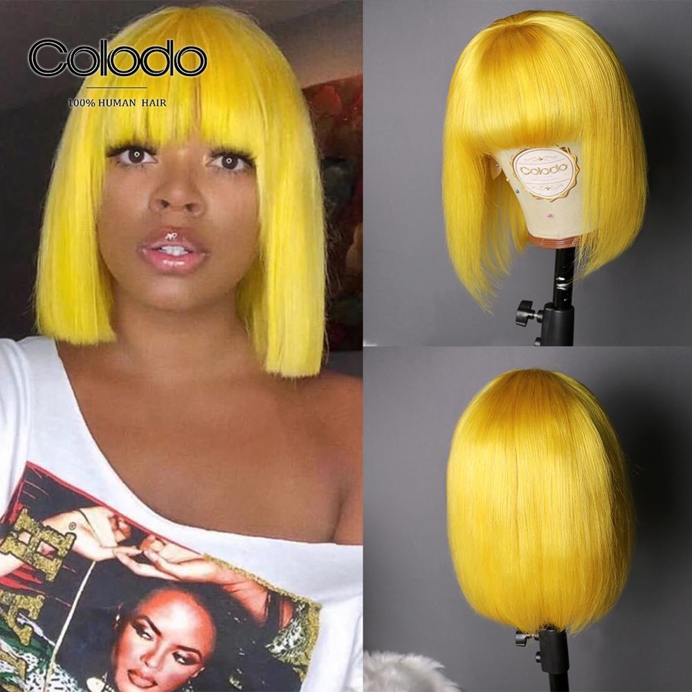 COLODO Yellow Bob Lace Front Wigs 180% Density Brazilian Remy Red/Blue Short Human Hair Wigs With Full Bangs For Black Women