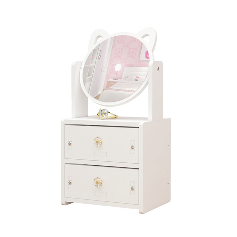White Makeup Organizer,Modern Jewelry and Cosmetic Storage Display Boxes with Mirror,Cosmetic Storage for Bathroom, Dresser,