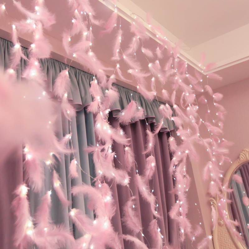Romantic Valentine's Day Feather Copper Curtain String Girls Room Ins Decorative Lights String USB Remote LED Star Lights