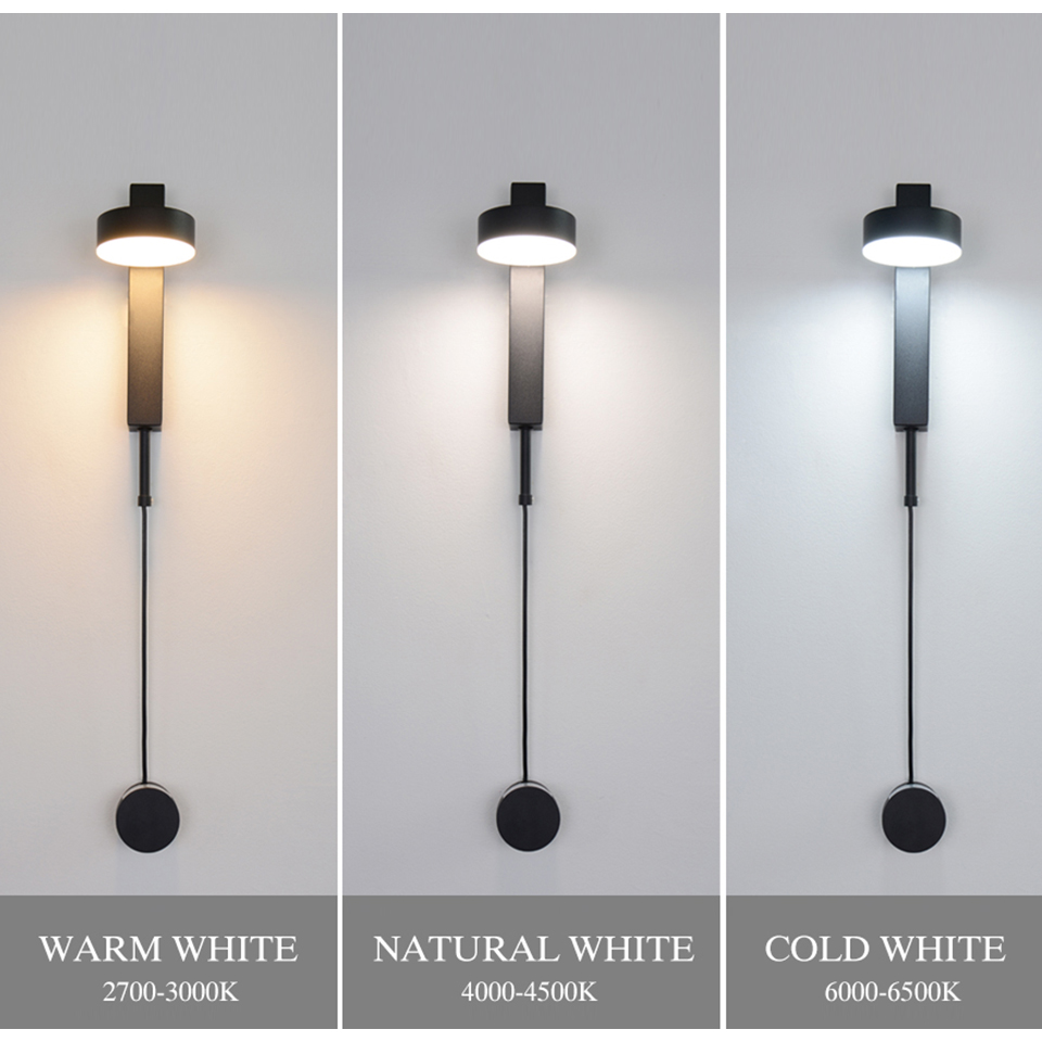 Led indoor wall lamps rotation dimming switch led wall light modern stai wall deco wall sconce livingroom golden led luminaire 3