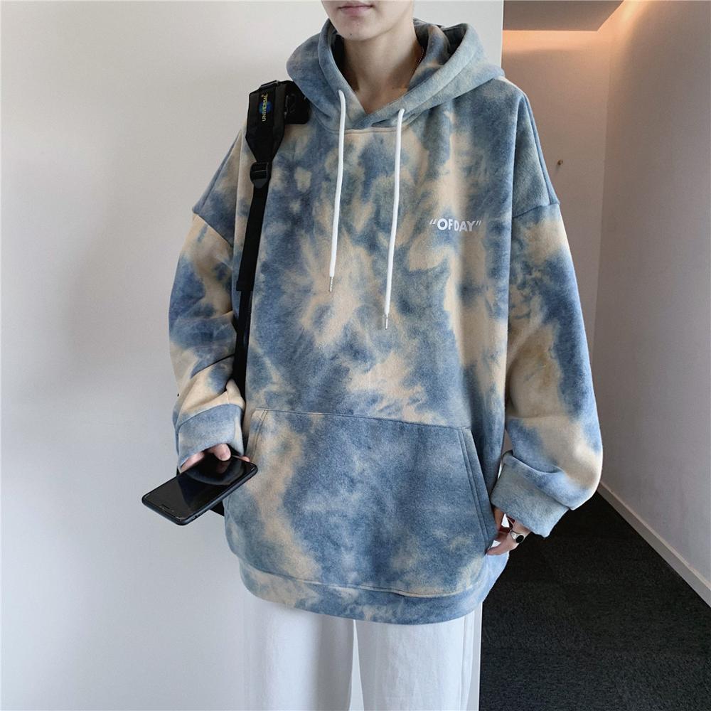 Camo Hoodies Men Fashion Tie Dye Print Casual Cotton Hoodie Man Streetwear Hip Hop Loose Sweatshirt Mens Pullover Hoody