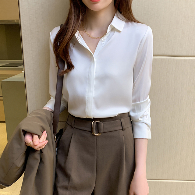 QoerliN Elegant Satin Blouse Autumn Spring Turn-Down Collar Single-Breasted Long Sleeve Female Chiffon Shirt Ladies Blouse Plus 9