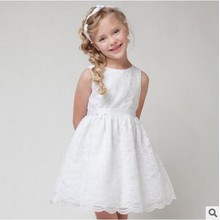 5 Colors Girls White Lace Dresses Kids Fashion Summer Red Ball Gown Dress Princess Birthday Children Wedding Party Clothing girls princess lace dress 2017new summer kids children white red color sleeveless lace tail dress wedding birthday party dresses