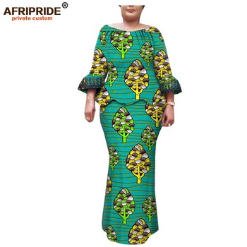 Afripride Ankara Print 2 Pieces Skirt Suit for Women Tailor Made Slash Neck Top+Floor Length Pencil Skirt Women Suit A1926012 фото