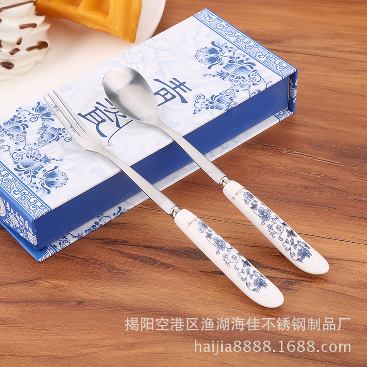 Tableware Set China Stainless Steel Spoon Fork 2 Pieces Blue And White Porcelain Exquisite Ceramic Handle Tableware Gift Wedding