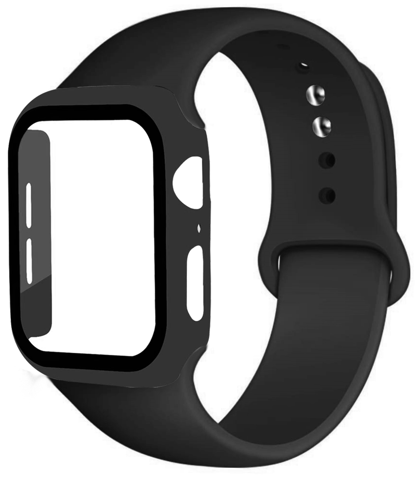 Cam + kılıf + kayış Apple saat kayışı 44mm 40mm iWatch bileklik saat kayışı 42mm 38mm silikon tampon + bilezik correa için apple izle 6 5 4 3 se