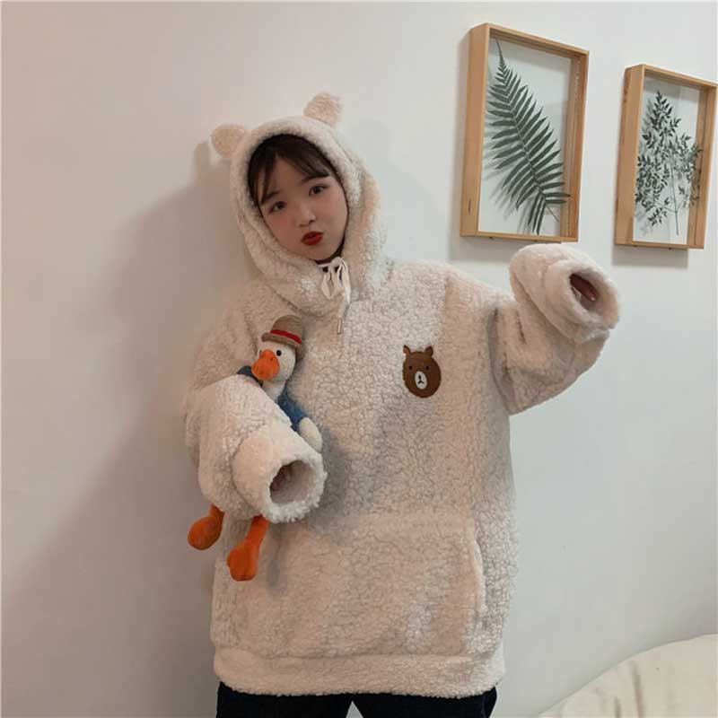 NiceMix Autumn Winter Hoodies Women Fashion Loose Hooded Pullovers New Tops Letter Pocket Casual All-match Hoodies 2020 Female T