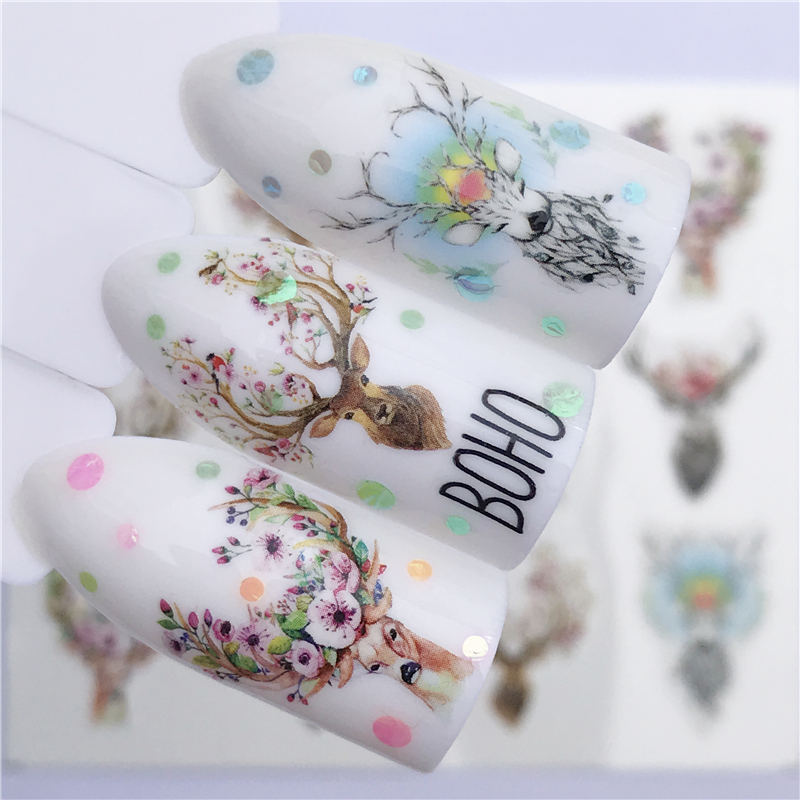 1 PC Nail Sticker Wolf Deer Flower Water Transfer Decal Sliders for Nail Art Decoration Tattoo Manicure Wraps Tools Tip
