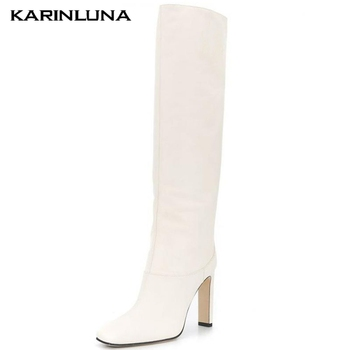 Karinluna High Quality 2020 High Heels 4 Colors Shoes Woman Boots Female Square Toe Slip On Knee High Boots Women Shoes