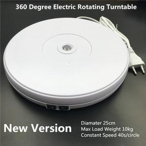 "Image 1 - 10"" 25cm Led Light 360 Degree Electric Rotating Turntable for Photography, Max Load 10kg 220V  110V"