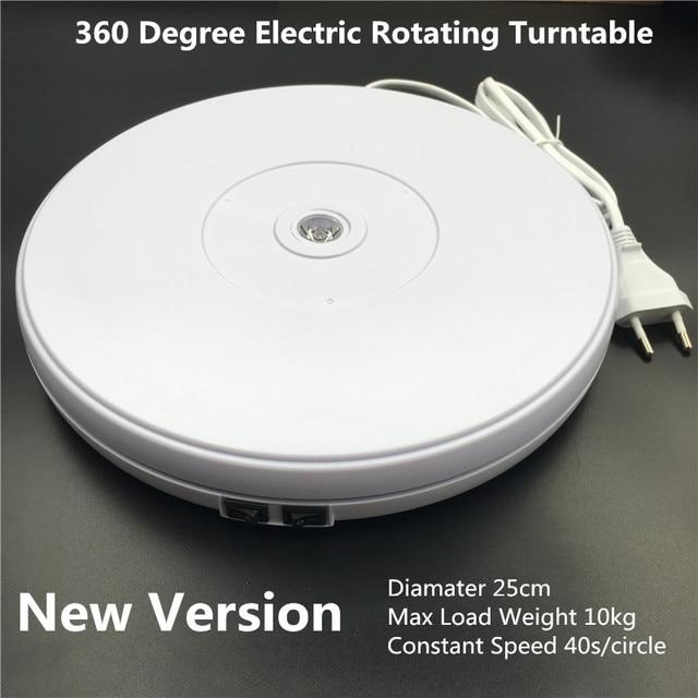 "10"" 25cm Led Light 360 Degree Electric Rotating Turntable for Photography, Max Load 10kg 220V  110V"