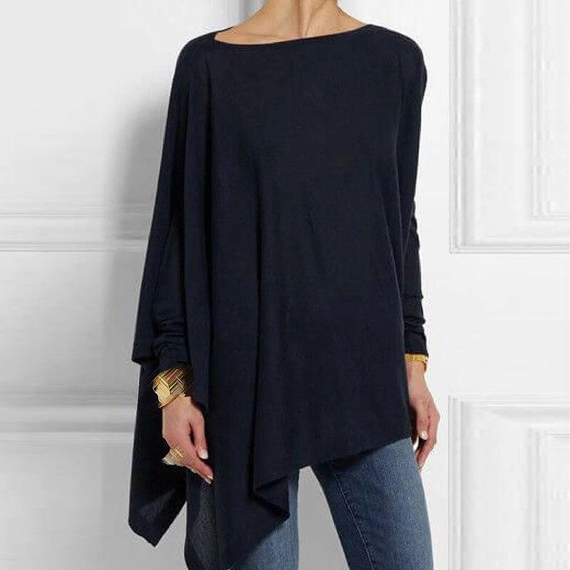 Women Pullover Tops Autumn Winter 2019 O-Neck Long Sleeve Irregular Shirts Casual Loose Female Tops