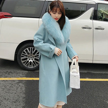 Plus Size Loose Warm Wool Blends Long Winter Coat With Real