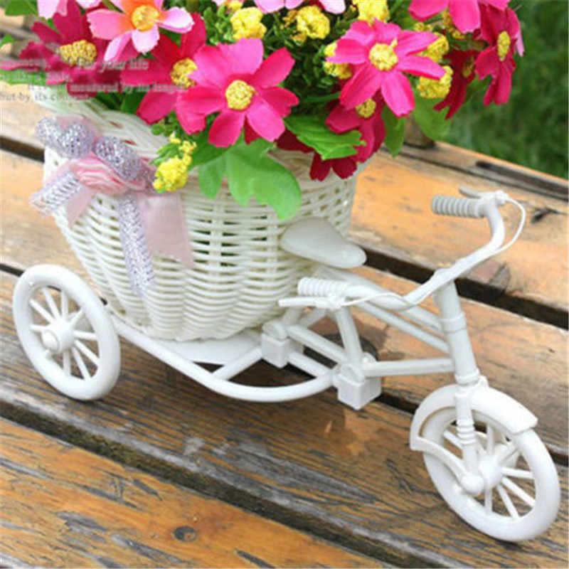 ใหม่จักรยานตกแต่งตะกร้าดอกไม้สีขาวออกแบบจักรยานสามล้อดอกไม้ตะกร้า DIY งานแต่งงานตกแต่งกระถาง