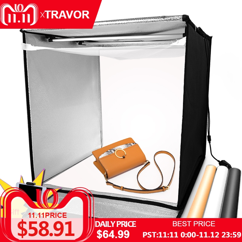 Travor light box 60*60 cm portátil softbox telefone lightbox com três cores de fundo para fotografia de estúdio de fotografia tenda led luz