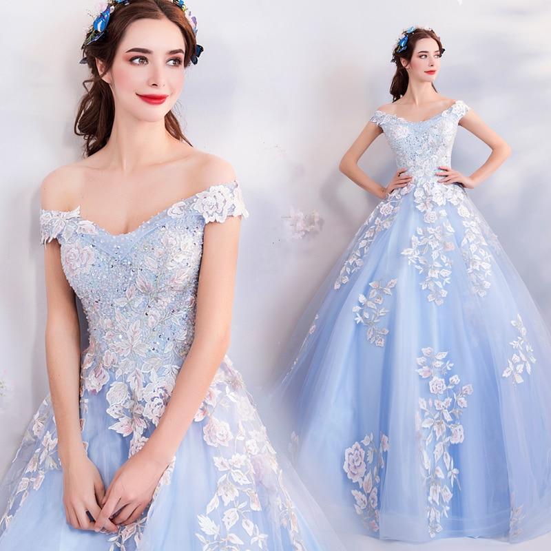 Robes De bal De 15 Anos Azul douces 16 longues Appliques bleu Skly perles fille Quinceanera robes pour Quinceanera 15 ans