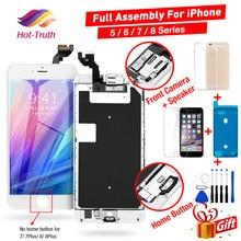 Aaa display lcd para iphone 5 5c 5S 5se assembléia completa tela de toque para iphone 6s plus 7 8 mais digitador + botão + câmera