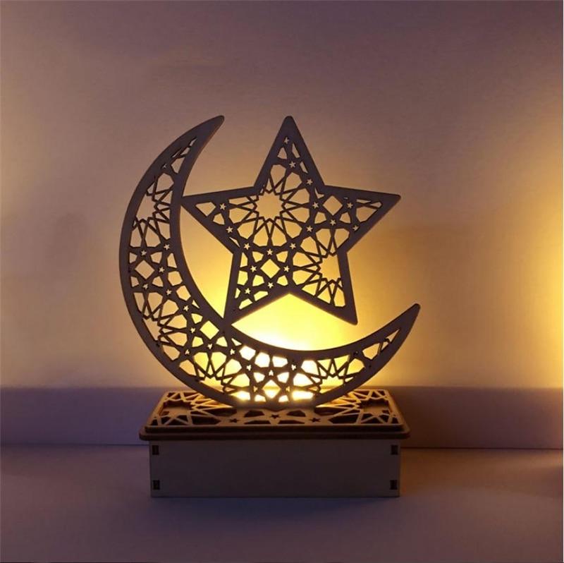 Hollow Moon Pattern LED Light Wooden Ramadan EID Mubarak Islam Muslim Craft UK