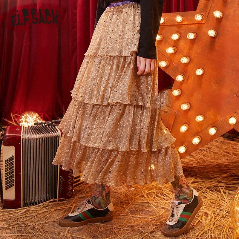 ELFSACK Beige Sequins Multi-Layer Ruffles Women Chiffon Midi Skirts 2020 Winter New Elegant Colorblock Ladies Pleated Skirts