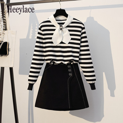 Plus Size 5XL Striped Knitted Bowknot Long Sleeve Winter Sweaters Tops+High Waist Mini Skirts Big Size Female OL 2 Pieces Sets