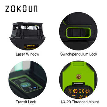 ZOKOUN 360 Rotary Lines Laser Leveler With 5200mah Battery & Horizontal & Vertical Lines Angle Measurment Building Laser Pointer