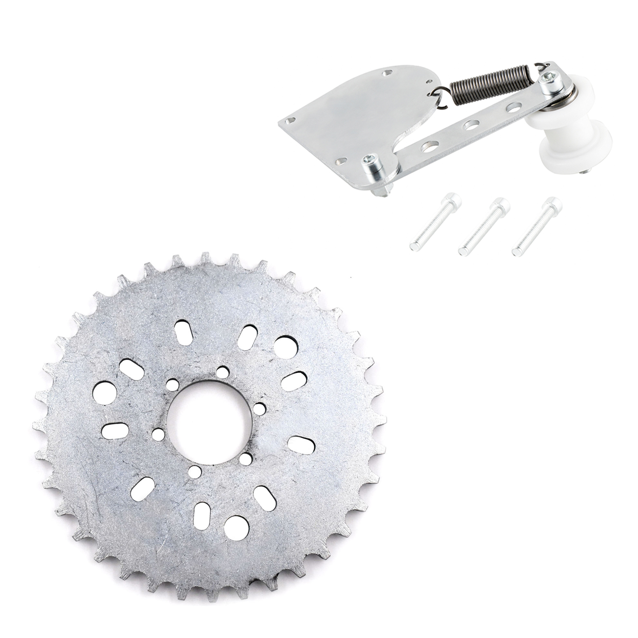 Pouvoir Silver Chain Tensioner <font><b>38T</b></font> <font><b>Sprocket</b></font> For 49cc 50cc 66cc 80cc Motorized Bike image