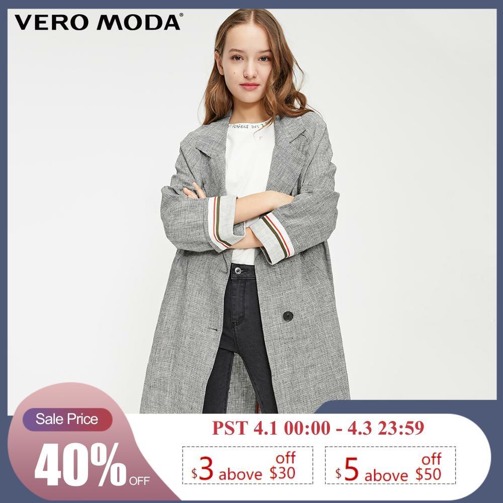 Vero Moda Women's Vintage Style Linen Loose Fit Plaid Lapel Long Blazer | 319108531