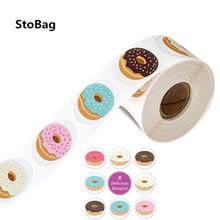 StoBag – autocollants support de beignets, 500 pièces, fournitures de paquet de gâteaux Cookies faits à la main, de fête, en rouleau, huit styles