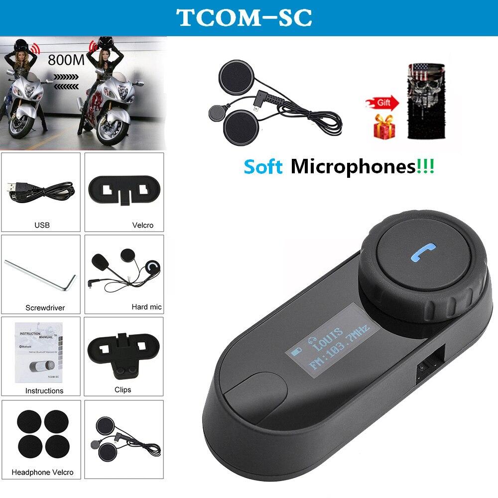 QPLOVE FreedConn Tcom Sc Motorcycle Helmet Bluetooth Intercom With FM Radio LCD Screen And Soft Microphones Scarf Interphone