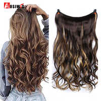 """AOSIWIG 22"""" Long Curly Invisible String Flip-On No Clip in Hair Extensions Fish Line Synthetic High Temperature Fiber Hair"""