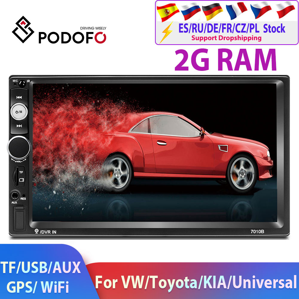 Podofo 2 Din Android Car Radio Car Multimedia Player 2 Din GPS Wifi Autoradio For Universal VW Toyota Hyundai Kia ISO Car Stereo