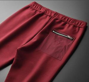 Image 3 - Minglu אדום Mens מכנסיים יוקרה רוכסן כיסים מוצק צבע מזדמן ספורט איש מכנסיים סתיו וחורף Slim Fit Man מכנסיים 4XL