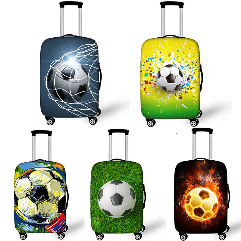 Foot Ball Print Suitcase Protective Covers Fire Trolley Luggage Protector for Man Boys Travel Accessories Elastic Bagage Cover