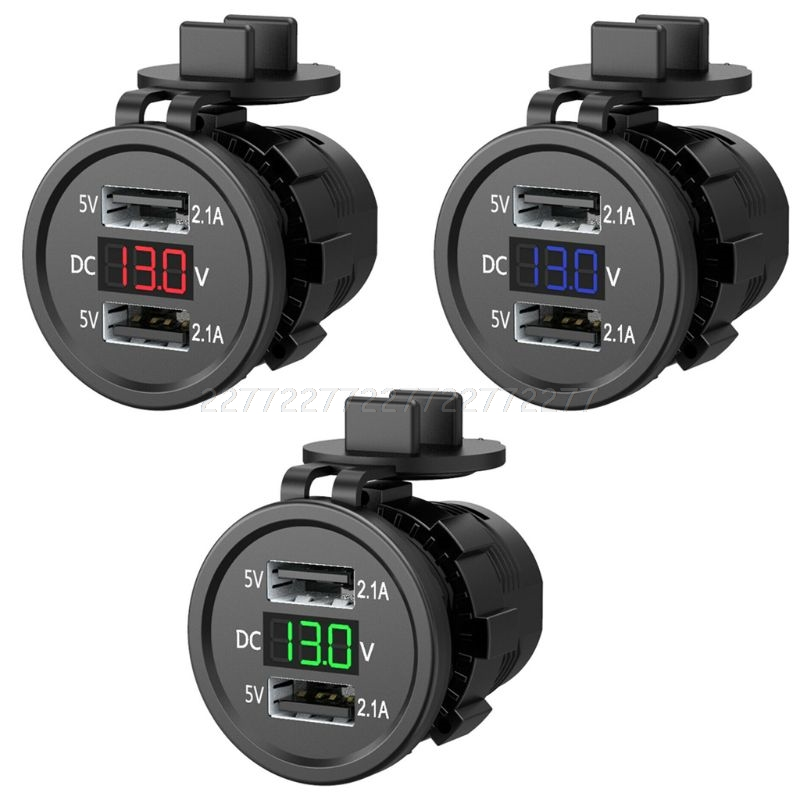 5V 2.1A Waterproof Dual Ports USB Charger Socket Adapter Power Outlet With Voltage Display Voltmeter For 12-24V S18 19