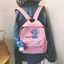 Lilo dikiş sırt çantası kadın tuval omuzdan askili çanta genç kızlar için çocuklar çok fonksiyonlu küçük sırt çantası kadın bayanlar okul sırt çantası