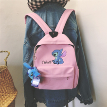 Lilo stitch Backpack Women canvas Shoulder Bag For Teenage Girls Kids Multi Function Small Bagpack Female Ladies School Backpack