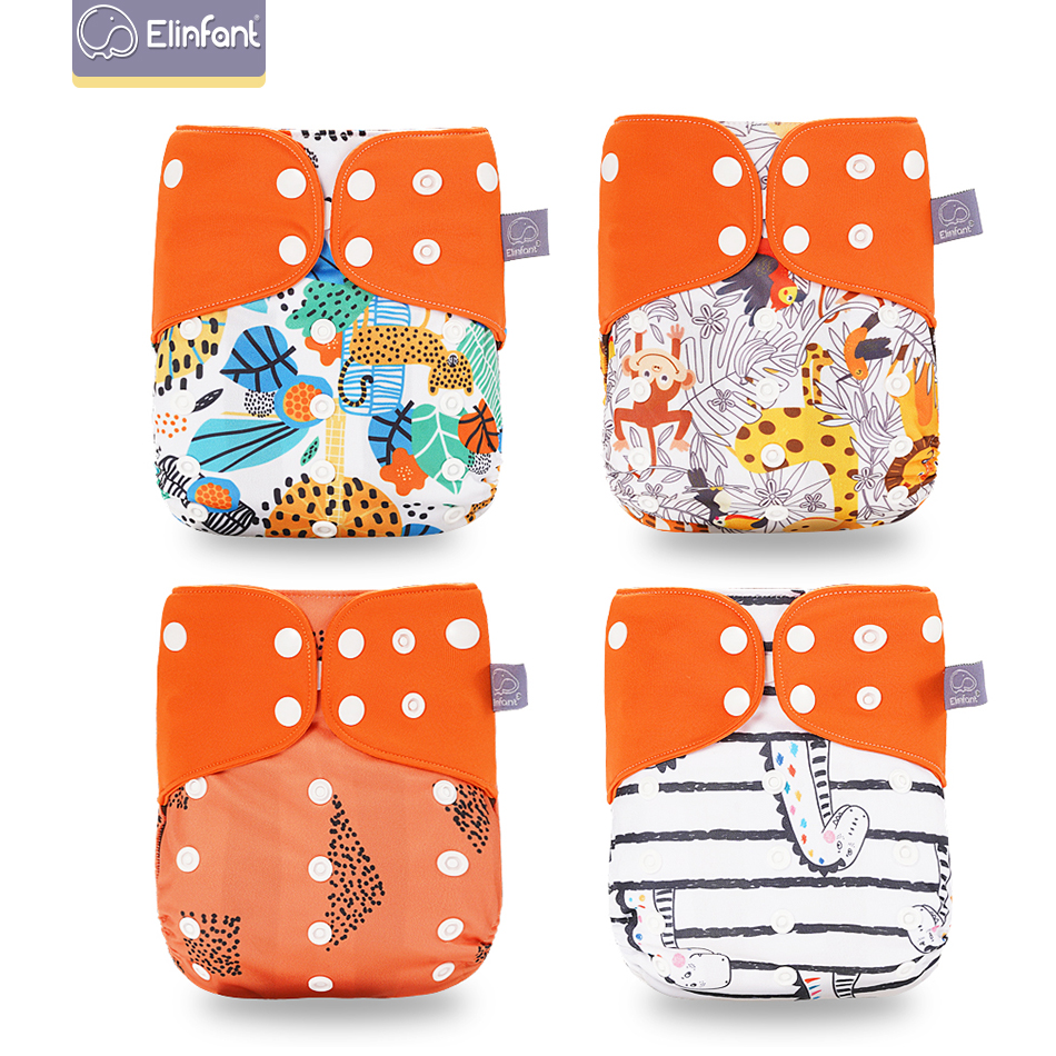 Elinfant  4pcs/set  Washable Reusable Coffee Mesh Baby Cloth Diaper Cover Adjustable Nappy  Cloth Pocket Diaper