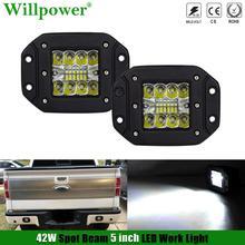 "SUV רכב 42W 5 ""סומק הר זרקור LED עבודה אור תרמילים Offroad סורג ערפל מנורת גיבוי נהיגה מנורה 4x4 משאית הפוך אור"