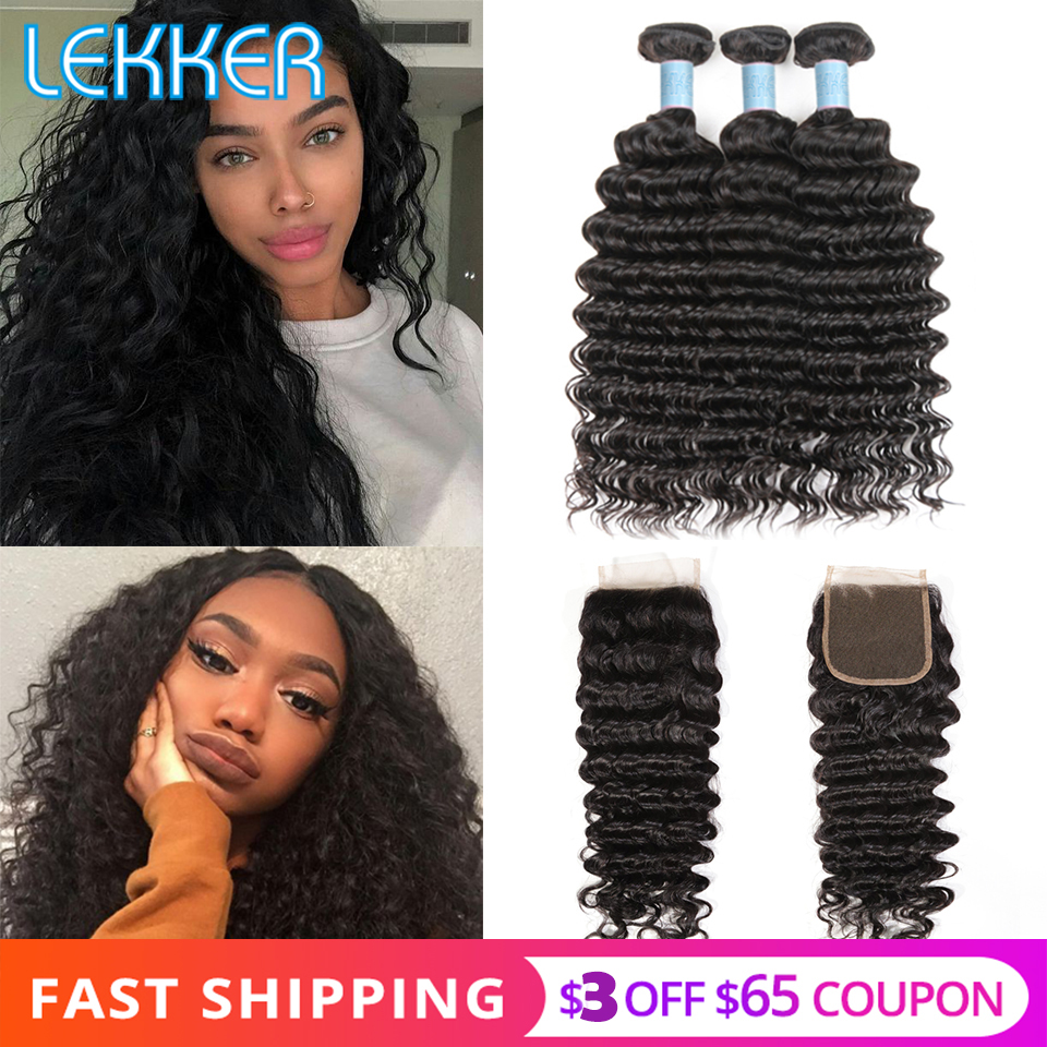 Lekker Deep Wave Bundles With Closure Malaysian Hair Bundles With Closure 3 Bundle With Lace Closure 8''-28'' L Hair Non-remy