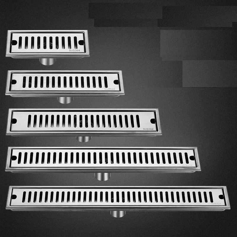 Rectangle Bathroom Shower Floor Drain Linear Waste Drainer Grate Stainless Steel Floor Drain Brushed Surface Kitchen Balcony