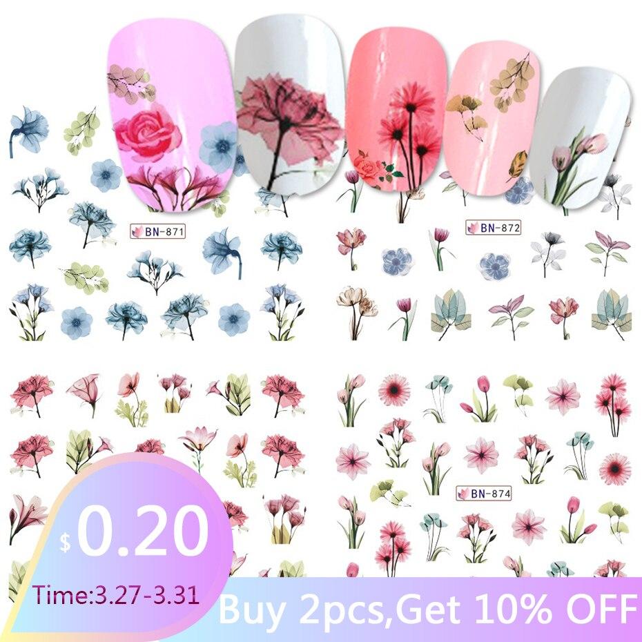 1pcs Daisy Lavender Water Transfer Sticker For Nail Design Flower Leaf Slider Foil Tip Nail Art Decor Charm Manicure SABN871-876