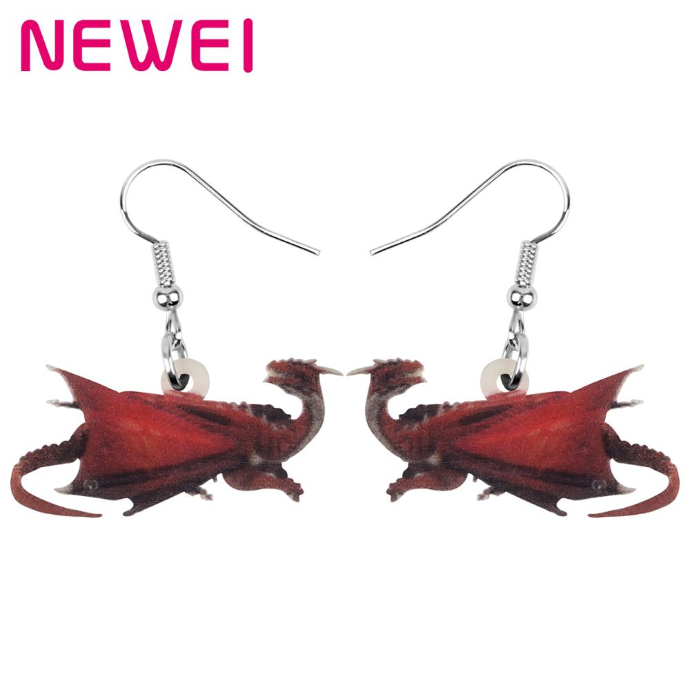 NEWEI Acrylic Anime Dinosaur Dragon Earrings Animal Drop Dangle Jewelry For Women Girl Teen Kids Trendy Charm Gift Hot Sale Bulk(China)