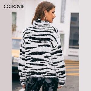 Image 3 - COLROVIE גבוהה צוואר פלאפי לסרוג זברה דפוס סוודר נשים 2019 חורף זוהר סוודרים ארוך שרוול גבוה רחוב סוודרים