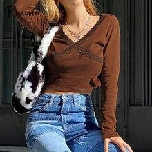 Rapcopter – pull-over à manches longues et col en V pour femme, tricot, Style coréen, automne, années 90