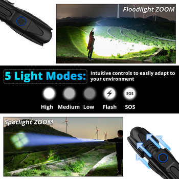 The Most Powerful XHP90 LED Flashlight 15000LM Xlamp Aluminum XHP50.2 Waterproof Torch Light Lanterna Use 26650 for Hunting