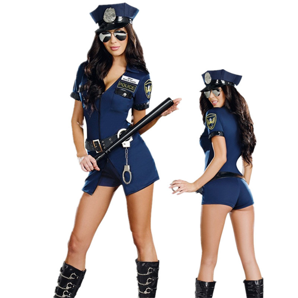 Cosplay Sex Erotic Policewoman Sexual Uniform Lingerie Temptation Zipper Police Pack Halloween Carnival Party Game Suit Porno