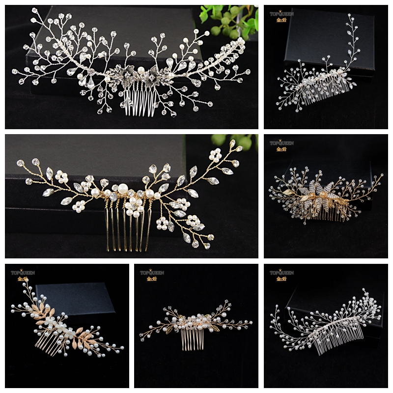 TOPQUEEN Mixed Wedding Elegant Accessories Hair Vines Original  Golden Bridal Hair Comb With Rhinestone Pearls Beaded Headwear